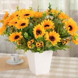 Wholesale Artificial Sun Flowers - The Sunflower 12 Fork Artificial Sun Flower Wedding Home Furnishing Living room Decorative Flowers Shooting Props Manufactur 8 9hh R