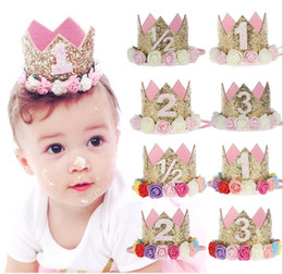 Wholesale Tiaras For Birthday Parties - 2017 Flower Crown Newborn Headband Gold Birthday Crown Flower Tiara Headband for Kids Party Headwear Hair Bands Accessories Gift