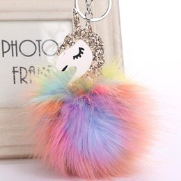 Wholesale Car Hang - 2017 Anime Horse Keychain Cute Unicorn Key Chain Pendant Women Car Styling Fluffy Fur Pompom Keyring Bag Hang Trinkets