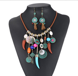 Wholesale Christmas Gift Ornaments - New Boho Spanish Leather necklace and Earring 2pcs  Jewelry Set Beach handmade multilayer Braided ornament NE623