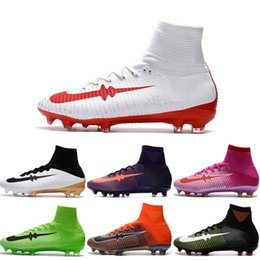 Wholesale Cheap White Shoes Gold Spikes - Cheap Soccer Shoes Mercurial Superfly V FG Men High Quality 2017 ACC CR7 Football Shoes For Sale Cleats Cheap Sports Boots Size 39-45