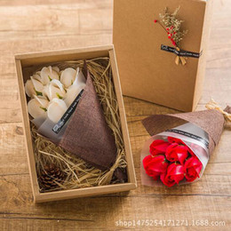 Wholesale Wooden Valentine Gifts - DIY Mother's Day Romantic Rose Soap Flower With Wooden Box For Valentine Day Gifts For Wedding Gift Or Birthday Gifts