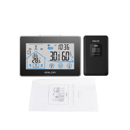 Wholesale Thermometer Hygrometer Humidity - Weather Station Temperature Humidity Meter Sensor Hygrometer LCD Display Digital Thermometer Wireless Touch LCD Clock Indoor Outdoor
