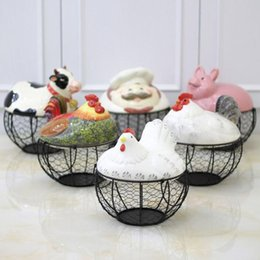 Wholesale Storage Wire Basket - Creative Ceramic Egg Holder Chicken Wire Basket Fruit Collection Storage Box Hen Oraments Decoration Kitchen Accessories ZA3569