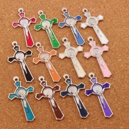 Wholesale Cross Charms Pendants - INRI Crucifix Enamel Saint Benedict Medal Cross Charms Pendants 72pcs lot 51x27mm Two-Sided 12Colors Jewelry DIY L423