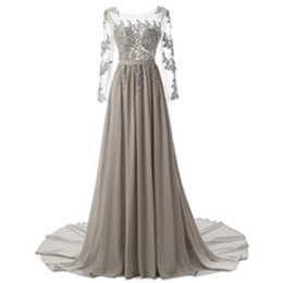 Wholesale Cheap Special Occasion Gowns - Sexy Formal Evening Dresses Elie Saab With long sleeve Lace Edged backless cheap Long Sheer Prom Party Gowns Evening Wear Dress