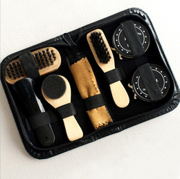 Sapatos mais limpos on-line-8pcs set Men Women Wood Suede Sole Shoe Cleaner cleaning brush shoe polish Leather Surface Brush Kit For Travel On Business