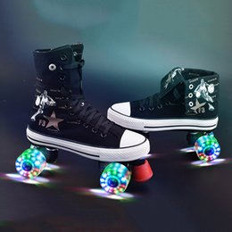 Wholesale Roller Skates Two Wheels - Wholesale- Roller Skates Canvas Shoes With Led Lighting PU Wheels Double Line Skates Adult 4 Wheels Two line Roller Skating Shoes Patines