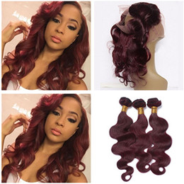 Wholesale Hair Extensions Red Colors - #99J Peruvian Wine Red Human Hair Weaves With 360 Lace Frontal Body Wave Pre Plucked Burgundy 360 Band Lace Closure With 3Bundles Extensions