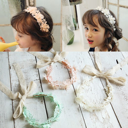 Wholesale Ivory Headbands - Nicoevaropa 2017 New Girls Halo Hairband Kids Pink Ivory Mint Floral Lace Ribbon Headband Cute Fashion Children Accessories