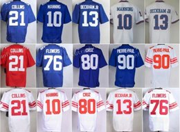 Wholesale Beckham Jerseys - Blue White 21 Landon Collins Jersey 13 Odell Beckham Jr 10 Eli Manning 76 Ereck Flowers 80 Victor Cruz 90 Jason Pierre-Paul 28 Eli Apple