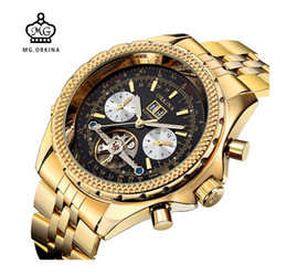 Wholesale Mens Golden Wrist Watches - MG. ORKINA Golden Mens Automatic Mechanical Wrist Watch Black Dial Glass Day Date Month Relojes Male
