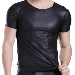Wholesale T Shirt Black Leather Men - Fashion Men's Balck 4 Size Leather Shirts For Mens Casual T Shirts Men's Brand Tshirt Tops & Tees Man Lether Tshirt Men free shipping
