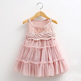 Wholesale Infant Lace Jacket - 2017 Baby Infant Girl Dress For 3-7 Years Children Kids Summer Princess Voile Cloth Lolita Sweet Lace Dresses For Girls