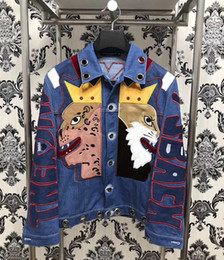 Wholesale Male Denim Jeans - 2017 new men jacket and coats brand clothing denim jacket Fashion mens jeans jacket crown lion embroidery winter outwear male cowboy