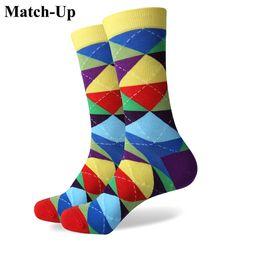 Wholesale Fun Socks Men - Wholesale- Match-Up Colorful ARGYLE SOCK fun men's Cotton Socks Wedding Gift Socks Free shipping US size(7.5-12)