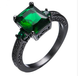 Wholesale Rectangle Green Ring - Retro Vintage Green Rectangle Zircon Rings For Women Men Black Gold Filled Wedding Party Cocktail Ring Friendship Jewelry