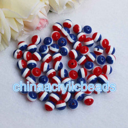 Wholesale Chunky Beads 8mm - 100Pcs Lot 8MM Resin Round Red White Blue Stripe Beads Chunky Necklace Striped Gumball Bubblegum Beads Charms