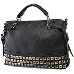 Wholesale Messenger Product - Wholesale- Products sell like hot cakes rivet women bag leather handbag shoulder bag fashion messenger bag 2 colors are available