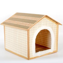 Wholesale Outdoor Dog Mats - Bamboo Weaving Pets House Pets Articles Dog Cage House Kennel Plush Mat big warm Teddy plush pet bed dog cat houses