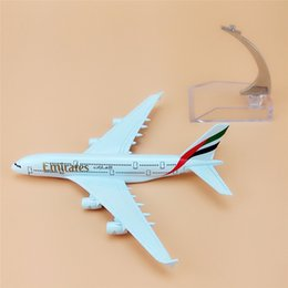 Wholesale Airlines Metal - aircraft metal models 16cm Alloy Metal Air Emirates A380 Airlines Airplane Model Airbus 380 Airways Plane Model w Stand Aircraft
