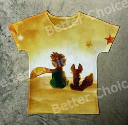 Wholesale Vintage Bell Watch - Wholesale-Track Ship+Vintage Retro T-shirt Top Tee Fairy Tale Little Prince Friend Fox Sit on Planet to Watch Sunrise Stars 0993