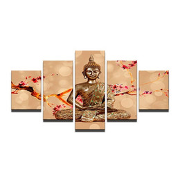 Wholesale contemporary homes pictures - Framed 5 Panels set Buddha Portrait,genuine Hand Painted Contemporary Home Decor Wall Art Oil Painting Canvas.Multi sizes Free Shipping 004
