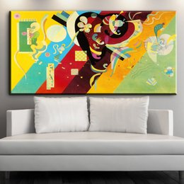 Wholesale Giclee Poster - ZZ1996 Blue and yellow Giclee poster By Wassily Kandinsky print Wall oil Painting picture print on canvas no frame painting