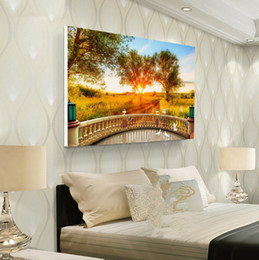 Cuadros del panel paisaje online-Nueva sala de diseño Pintura al óleo Pintura en aerosol Arte de la pared Decoración viva Paisaje impreso Decoración de la imagen Dormitorio pintado Hotel moderno Árbol