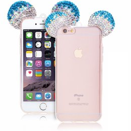 Wholesale Diamond Iphone Transparent - for Iphone x 3D Crystal Bling Diamond Mickey Mouse Ears Clear TPU Rubber Cover Case with Lanyard for Iphone 5s 6 6s plus 7 7plus 8 8plus x