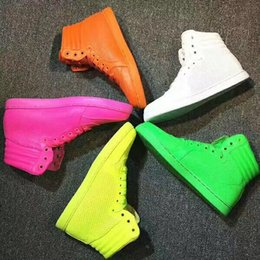 Wholesale Neon Casual Shoes - 2017 new men women high top fluorescence new style real leather casual shoes neon yellow green luxury men's brand shoes eur 36-45