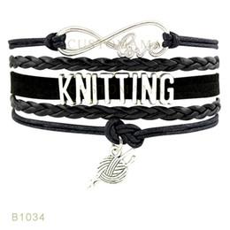 Wholesale Yarn Bracelets - (10 Pieces Lot) Infinity Love Knitting Yarn Charm Bracelet White Light Blue Black Mint Blue Saddle Brown Leather Wrap Bracelet Any Themes