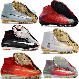 Wholesale Cream For Soccer Shoes - Cheap Soccer Shoes Mercurial Superfly FG High Quality 2017 ACC CR7 Football Shoes For Sale Cleats Cheap Sports Boots Size 35-45