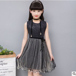 Wholesale American Girl 14 - Children's Princess Dress New 2017 Summer Girls o-Neck Lolita Style Bow Dress Black Color Size4-14 Lace Mesh Dress ly291