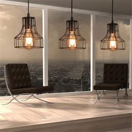 Wholesale Warehouse Restaurant - Loft Retro Hanging Lamp Industrial Minimalist Iron Pendant Light Bar Cafe Restaurant Warehouse E27 Lamp Holder Vintage Lights