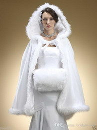 Wholesale Hot Pink Faux Fur Coat - 2017 NEW Cheap Winter Bridal Capes Hot Sales Hooded Wedding Coat Trimmed by Faux Fur Burgundy Ivory Bridal Long Jacket Cloak
