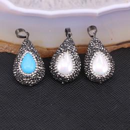 Wholesale Copper Turquoise Pendants - 10pcs Fashion Pave Crystal Turquoise   Nature Pearl Pendant Charms, Drop shape Rhinestone Gemstone Jewelry Pendant Beads