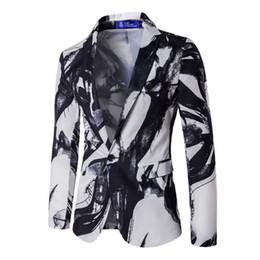 Wholesale Casual Suits Blazers - Wholesale- Luxury Men 2017 Fashion Brand Suit Men's Casual One Button Suit Ink Print Blazer Men Casual Business Dress Blazer Masculino