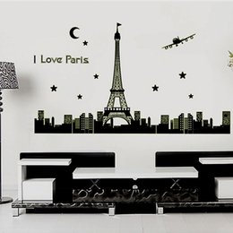 Wholesale Stickers Paris - Paris Eiffel Tower Wall Decal Building Architecture Luminous Wall Stickers PVC Wall Stickers Environmental Bedroom Sticker Decals