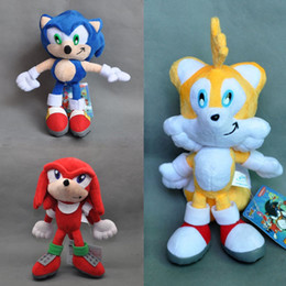 "Wholesale Soft Toys Dolls - Hot New 3 Styles 8"" 20CM Sonic The Hedgehog Doll Sonic Knuckles Tails The Echidna Plush Dolls Stuffed Gifts Soft Toys"