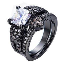 Wholesale White Zircon Ring For Men - Black Gold Filled Jewelry White Zircon Male Female Heart Ring Sets Vintage Wedding Rings For Men And Women
