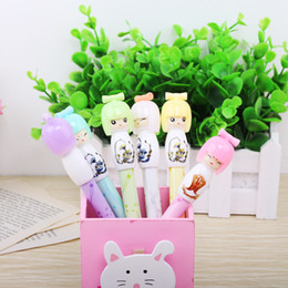 Wholesale Girls Ink Pens - Wholesale-6Pcs Set Colorful 0.38mm Japanese Girl Gel Ink Pen Ball Point Gel Pen,Cute Stationery Promotional Gift Wholesale