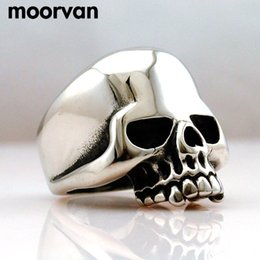Wholesale Skull Polish - Drop ship Cool Stainless Steel Rings For Men Trendy Smooth Polishing Big Tripple Skull Ring Punk Biker Jewelry VR312