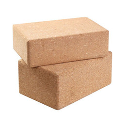 Wholesale Yoga Cork Block - Wholesale-Cork Wood Yoga Block Exercise Fitness High Density Practice Tool Natural Non-Slip Brick Home Health Gym