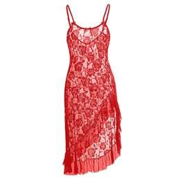 Wholesale Plus Size Sexy Sleepwear - Plus Size Lingerie for women Black Red White 3 colors Sexy Lace Gown elegance Mermaid long dress with Lace Ruffles trim S-6XL Sleepwear
