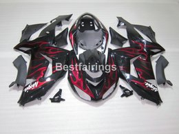 Wholesale Kawasaki Ninja Part - Aftermarket body parts fairing kit for Kawasaki Ninja ZX10R 06 07 red flames black fairings set ZX10R 2006 2007 IU28