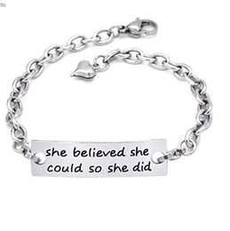 Wholesale Metal Hand Cuffs - Fashion Stainless Steel bracelets She believed she could so she did Inspirational Hand Stamped Cuff Metal Bracelet for Women Ladies Girls