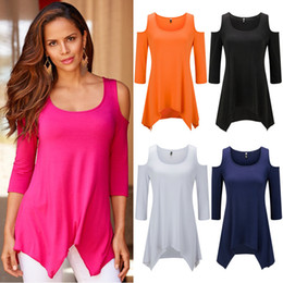 Wholesale Sexy Woman Ladies Shirt - New Summer Ladies Halter Top Off Shoulder Shirt Slash Neck Crop Top Sexy T Shirts for Women Solid Color Cropped