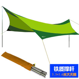 Wholesale Iron Tent - Wholesale- 3Colors for choose!High quality 550cm*560cm iron poles UV beach tent sun shelter camping tent awning tarp