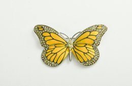 Wholesale Gold Butterfly For Decoration - Wholesale- Vintage Yellow Butterfly Broach for women dress Blue Strass Harajuku Crystal Jewelry Broaches Mujer Decoration X0838